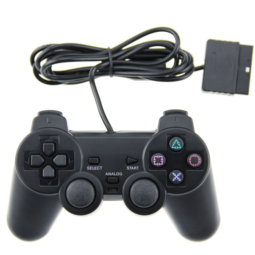 TPFOON Wired Controller Double Vibration Joystick Gamepad Joypad For PS2 Playstation 2 Black