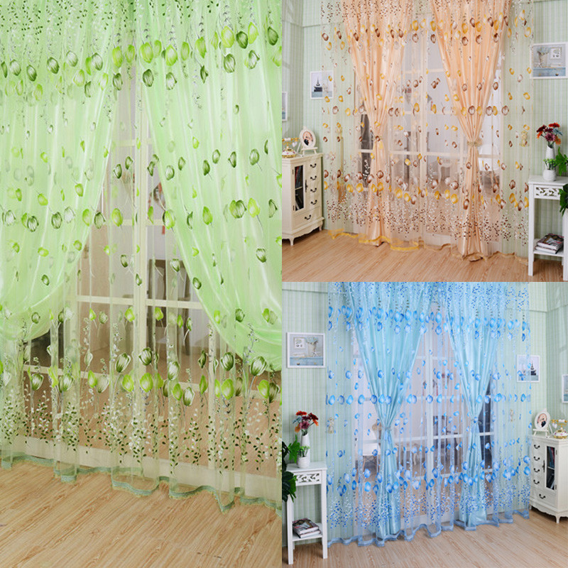 LS4G 1M*2M Blue Green Orange Voile Curtain Chic Room Tulip Flower Sheer Curtain Home Decoration Free Shipping(China (Mainland))