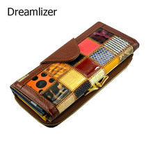 Dreamlizer 3 Fold Fashion Genuine Leather Women Wallets Patchwork Hasp Coin Pocket Female Clutch Women Purse Wallet(China (Mainland))