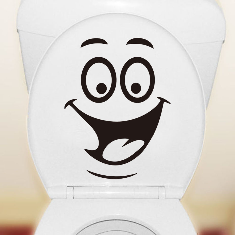 Smile Face Big Mouth Toilet Stickers Wall Sticker Decorations Vinyl adesivos de paredes Home Decal art Waterproof Posters Paper(China (Mainland))
