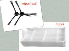 Vacuum Cleaner Accessories Pack for panda x500  ECOVACS CR120 X600 Side Brush X 6pcs (3set)+ hepa Filter X4pcs