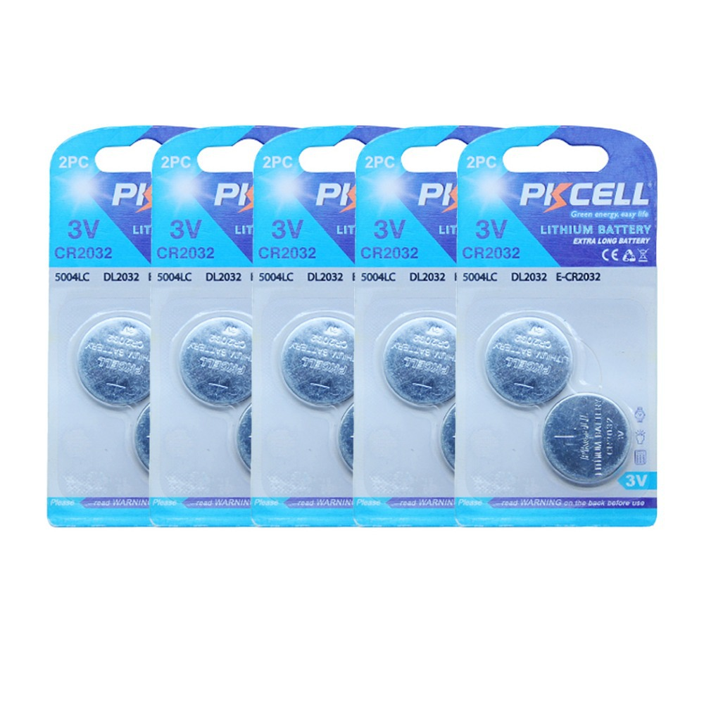 2032 cr2032 dl2032 3v 210mah PKCELL logo lithium button cell battery in 2pc/card X 5 cards(China (Mainland))