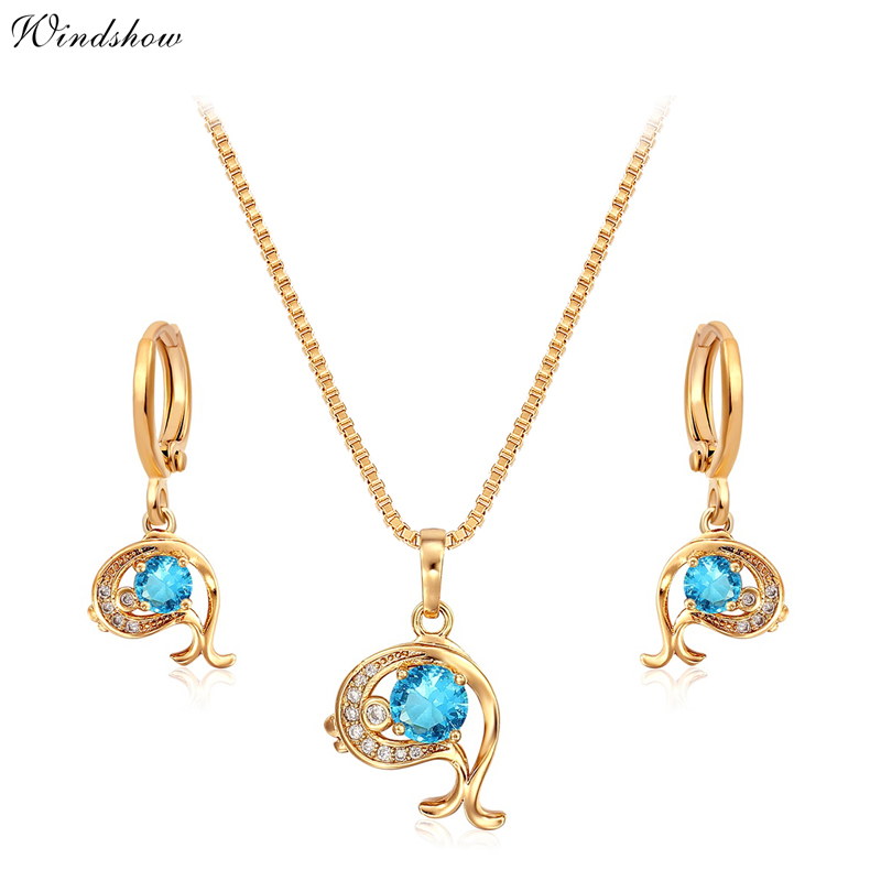 18K Gold Plated Dolphin Crystal &amp;Zircon CZ Pendant 16 Necklace Earrings Anti-Allergic Jewelry Sets for Children Girls Baby Kids<br><br>Aliexpress
