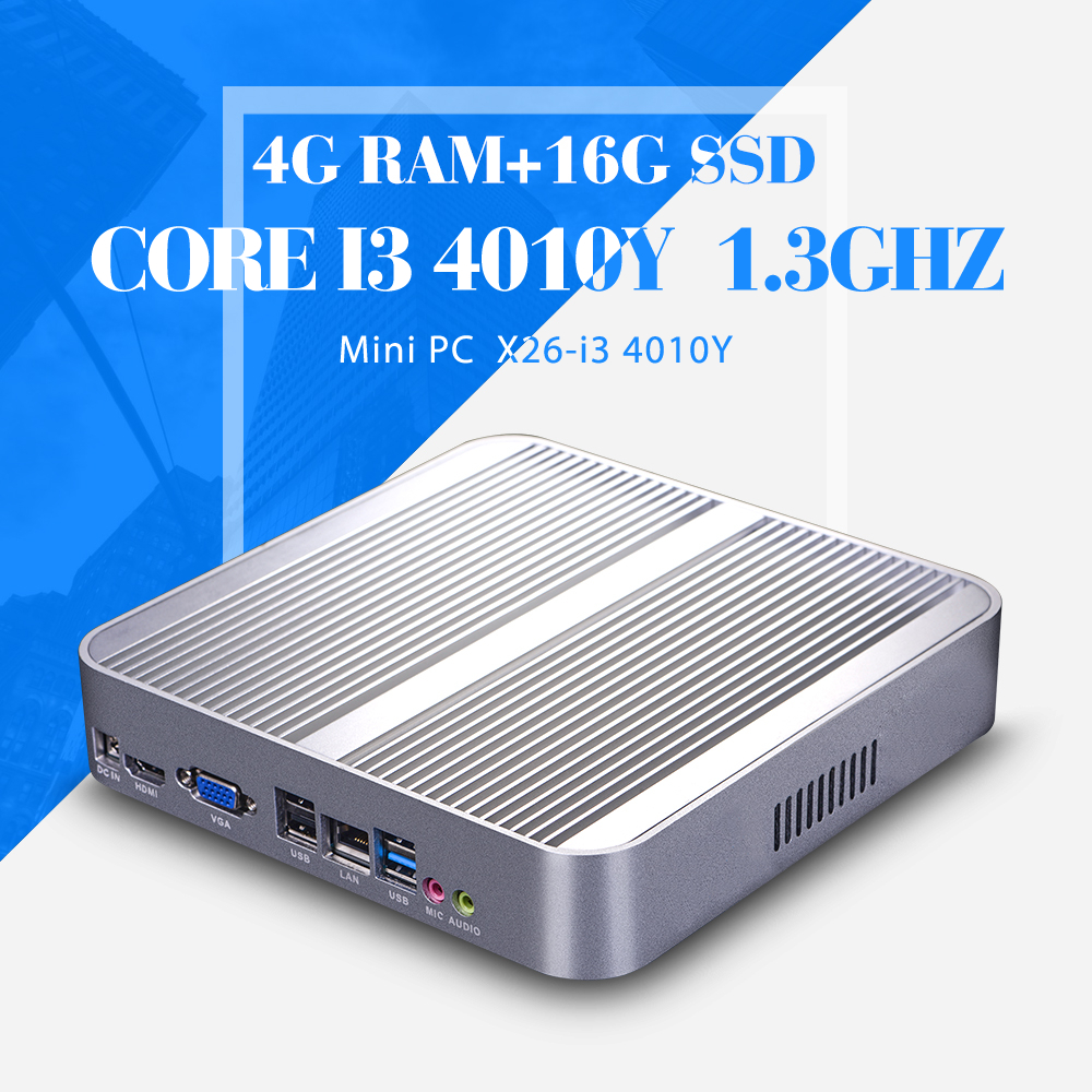 Ultra-Low-Power I3 4010Y 4GB RAM 16GB SSD Fanless Mini PC desktop Computers Factory Of Keyboard Wired Support Win 7 XP System(China (Mainland))