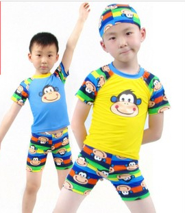 HOT Cute milo Cartoon Boys/Baby /Girls /Kids/Children Swimwear Set TShirtS&shorts Sunscreen SwimSuit/Trunks 2 Pieces With Caps(China (Mainland))