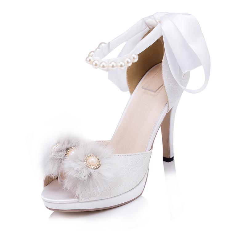 Custom White/Ivory Silk Women Wedding Shoes Feather Rhinestones High Heel Party Shoes Women Sandals Peep Toes EU33-41 608