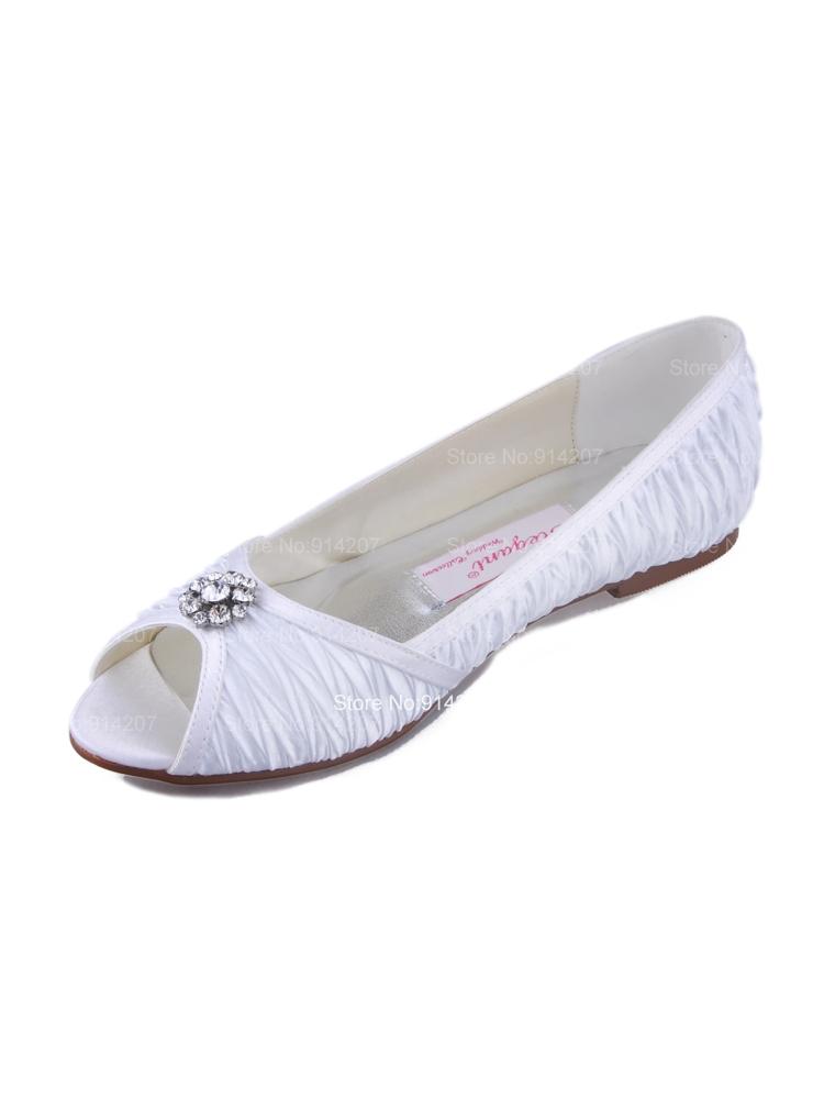 free shipping beautiful white satin peep toes flats