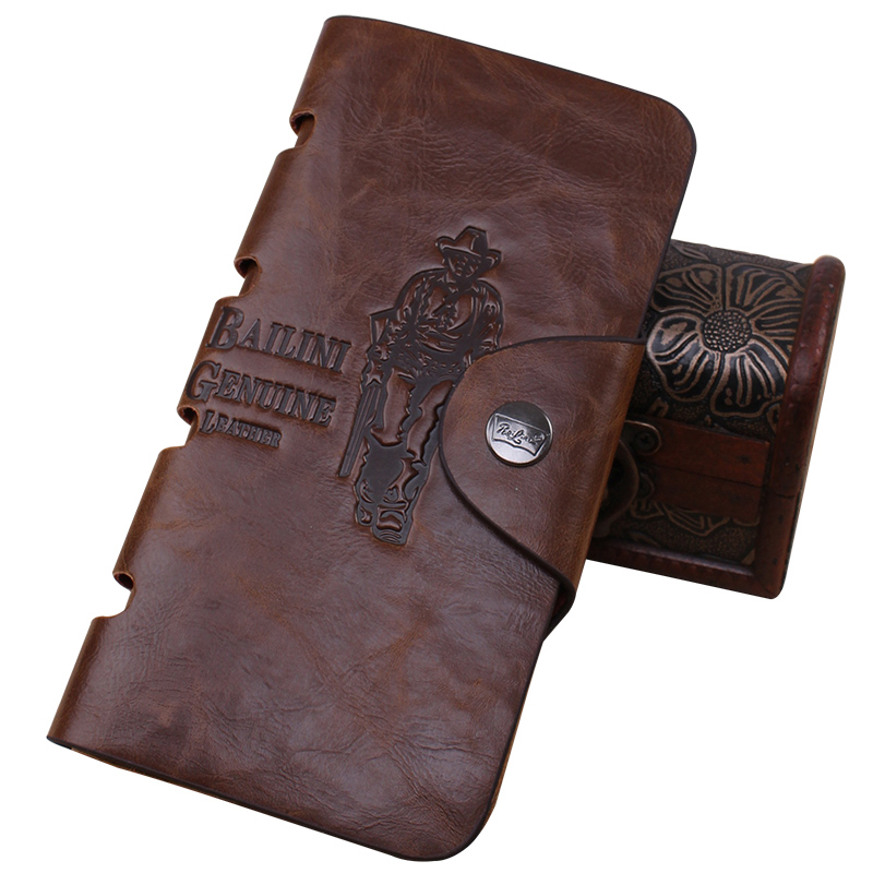 HOT Factory Price Printed Multicard Bit Long Paragraph Fashion Men Antique Leather Wallet With Coin Pocket Mens Wallets(China (Mainland))