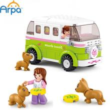 Arpa Lego Compatible Building Blocks Friends Station Wagon Dream Outing Travel Car Puppies Children Girls Toys(China (Mainland))