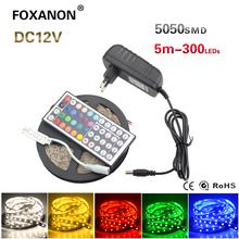 Foxanon 5050 5M LED Strip RGB Flexible Bulb DC12V 300Leds Lights Xmas String Ribbon lamp + 44key IR Remote Controller + 3A Power(China (Mainland))