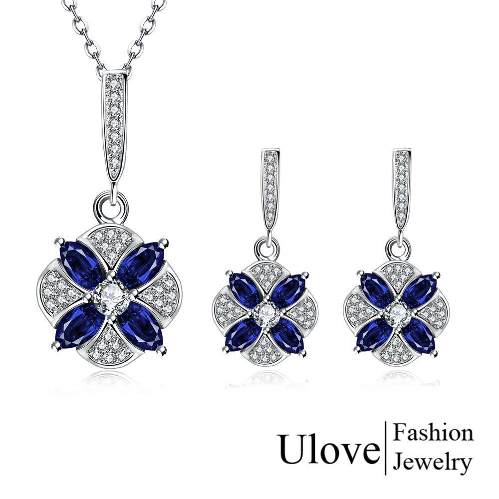 Sapphire Jewelry Sets Valentine's Day Gifts Flower Necklace Pendant Earring Set Rhinestone Zircon Bride Jewelry Turkish S099(China (Mainland))