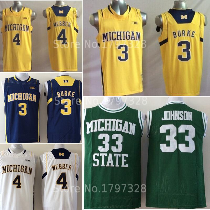 Cheap NCAA college michigan state 32 magic johnson jersey 4 chris webber 3 trey burke basketball jerseys size:s-xxl(China (Mainland))