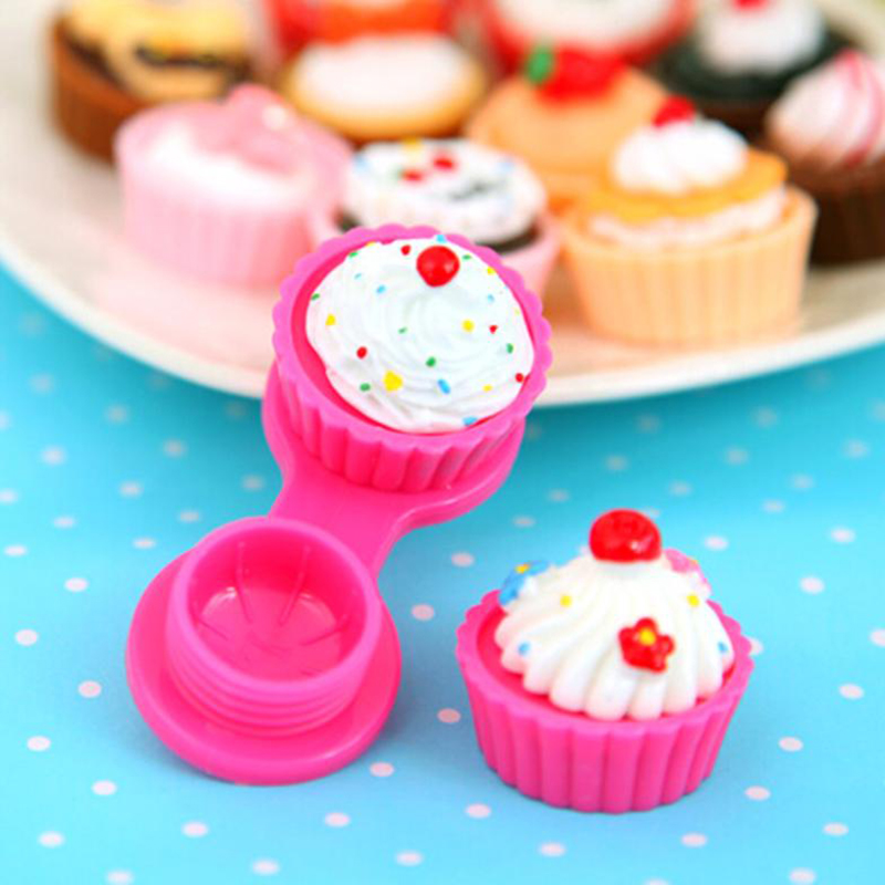New 6 Colors Travel Cute Cartoon Cake Cream Shape Mini Contact Lens Box Case Holder Portable