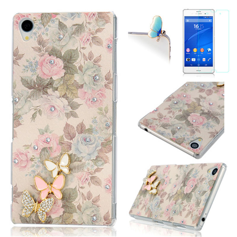 Bling Crystal Butterfly Hard Plastic Phone Back Cover Protective Case For Sony Xperia Z3 D6653 D6633 +Screen Protector+Dust Plug(China (Mainland))