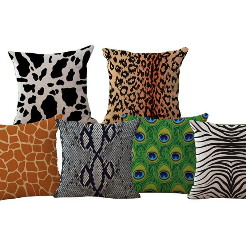 Cow zebra animal pattern peacock Cushion 45x45cm Decorative Throw Pillows for Sofa Decorative ...