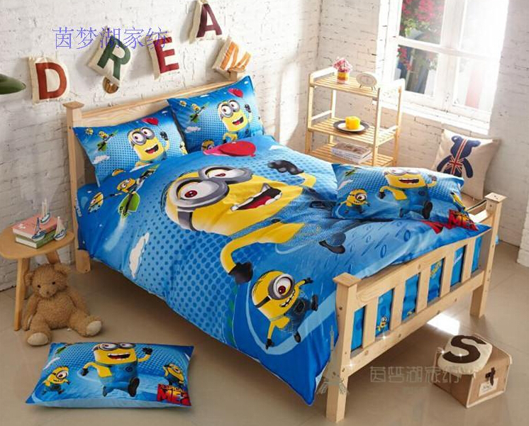 2015 100 coton minion drap de lit pour adultes enfants linge de lit housse de couette draps. Black Bedroom Furniture Sets. Home Design Ideas