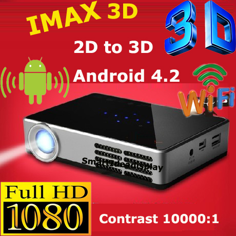 Best Quality !! 1080P Full HD DLP LED 3D Android 4.2 Wifi Projector 1280x800 10000:1 mini Android DLP 3LED TV Video Projector(China (Mainland))