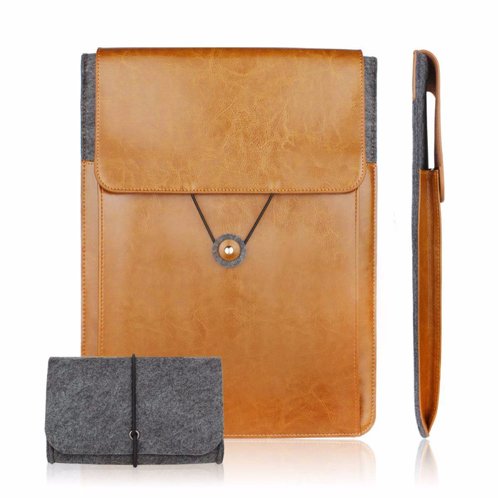 Genuine Leather Vintage Envelope Laptop Sleeve 11.6 13.3 15.6 inch for macbook Air macbook Pro cover pouch bag with Charger Case(China (Mainland))