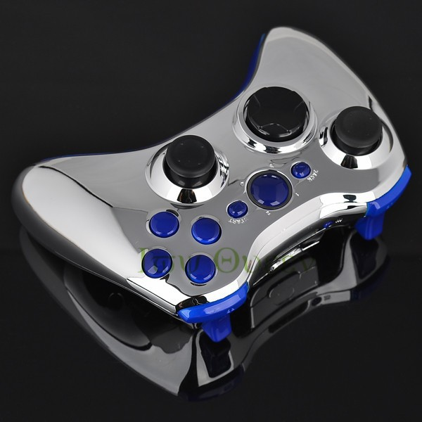 FOR xbox 360 controller chrome silver shell02