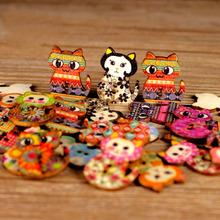 100pcs/Lot Mixed Cartoon Wooden Novelty Cat Design Buttons 20x27mm Animal Wood Painted Buttons Scrapbook 2 Holes(China (Mainland))