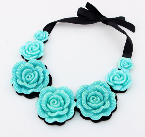 2015 choker popular south Korean star Lace Pearl Roses false shawl Collar Statement Pendant Necklace Mother's Gift For Women(China (Mainland))
