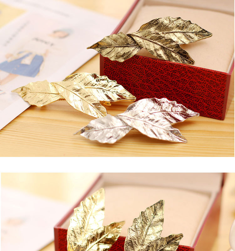 Hot fashion vintage gold metal leaf Hairpin Metal Feather Big Hairgrips Hair Clip For Women Accessories Jewelry