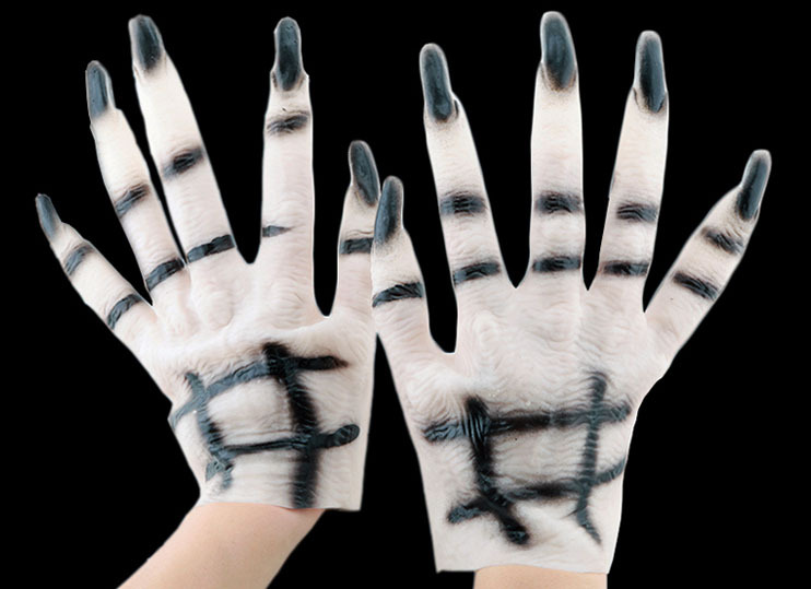 2015 New Halloween Party Decorations Supplies White Ghost Gloves Cosplay Tricky Toys For Club(China (Mainland))