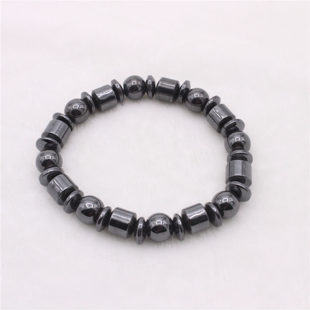 Black Magnet Beaded Bangle Men Women Cool Biker Magnetic Bracelet Geometric Beads
