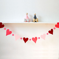 2 Meter Heart Love Paper Fabric Flag Party Bell Garland Decoration Banner Bunting For Wedding Event