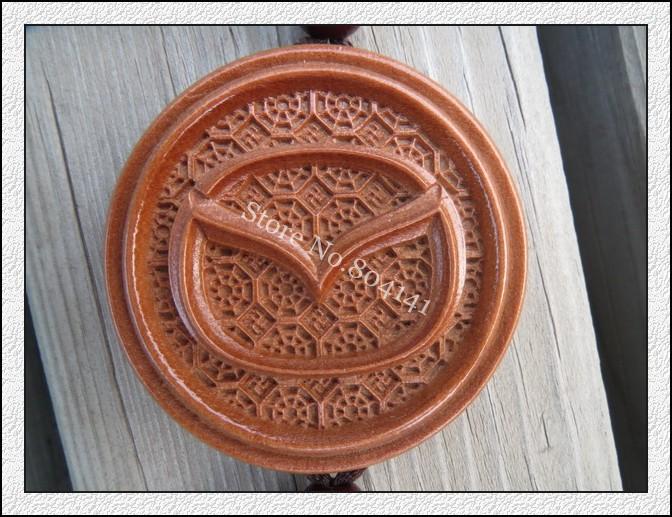 Wooden Automobile Logo Auto Car Interior Decoration Hand Carved Car Pendant Amulet Buddha Pendant Amulet Car Interior Mirror(China (Mainland))
