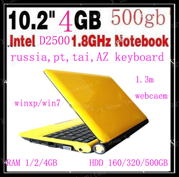 free shipping 10.2 inch intel D2500 dual core   laptop  notebook  1.8G CPU