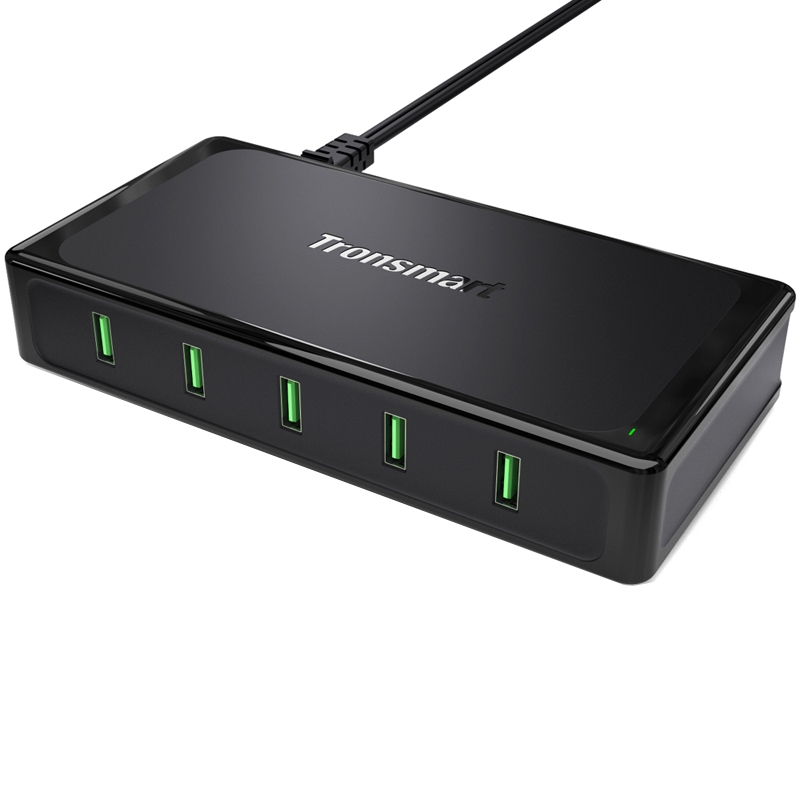 Tronsmart TS-UC5F 90W 5 Ports USB Desktop Charger with Quick Charge 2.0 Station 2-3Times Faster Quick Charge For iPhone Samsung