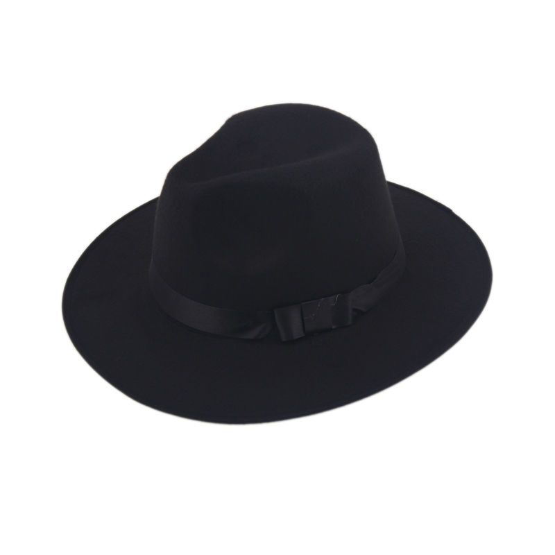 Vintage Men Women Hard Felt Hat Wide Brim Fedora Trilby Panama Hats Gangster Sun Cap IN Stock(China (Mainland))