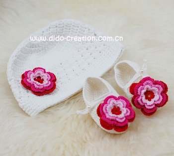 1 hat + 1 pair of shoes Free shipping Handmade Crochet Baby Hat Shoes Set