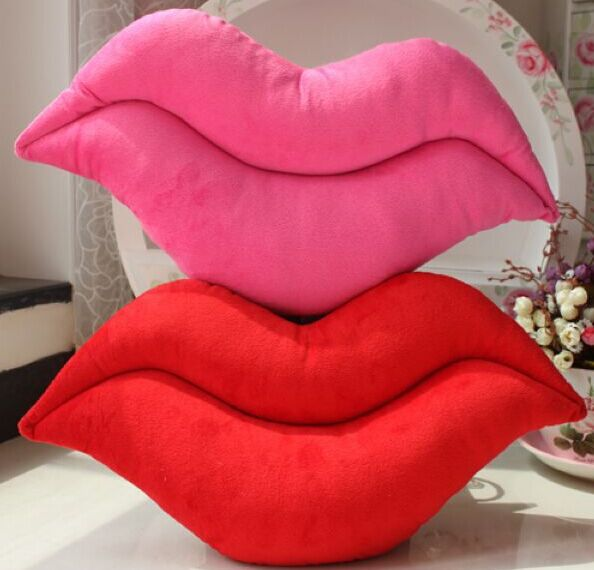 45*25cm creative novelty item funny women big mouse shape cushion pink red lip plush toy throw pillow for couch pregnancy(China (Mainland))