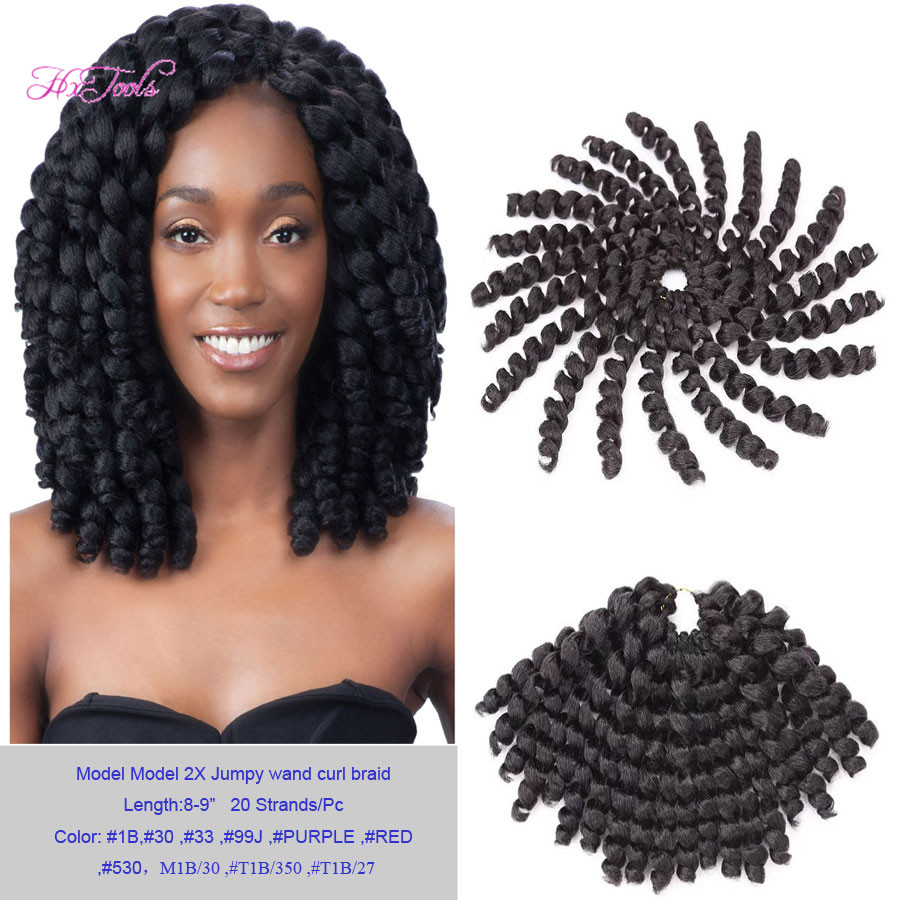 Crochet Braids Hair New Arrival 50Pcs Model Glance Braid 2X Jumpy Wand Curl Crochet Braid Hair Extension 10 Color Options(China (Mainland))