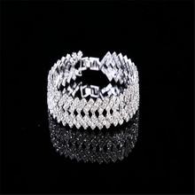 Fashion Women Crystal bangles Bracelet Jewelry Minimalist Style Rhinestone indian bangles Jewelry Silver Wide Bracelet W32Z50