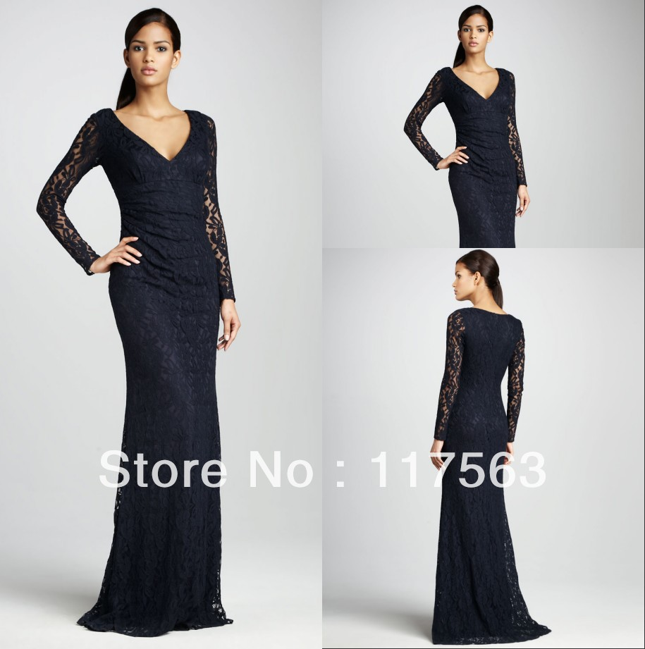 Popular Black Lace Long Sleeved Gown-Buy Cheap Black Lace Long ...