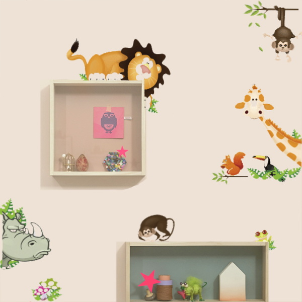 Jungle Wild animals get in your room hide and seek wall stickers for kids room PVC decals home decor Removable wall stickers(China (Mainland))