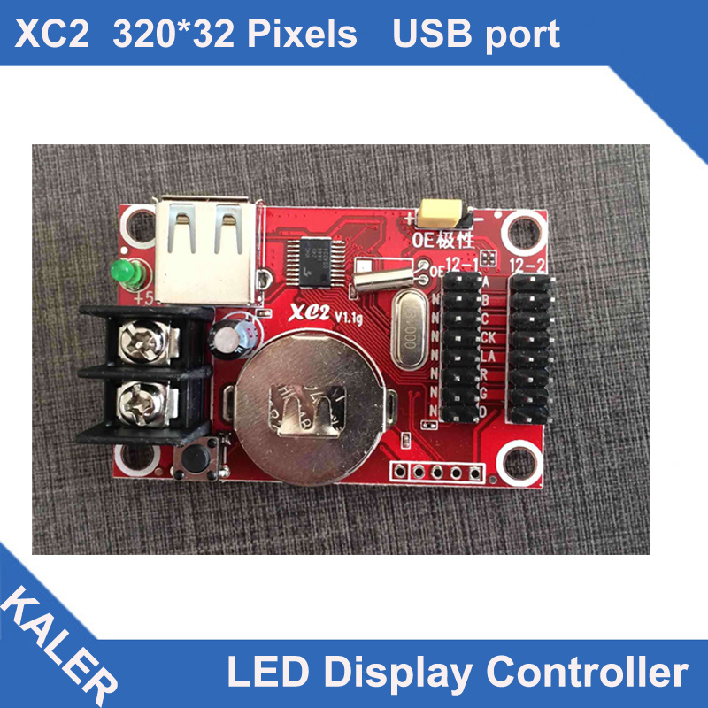 China Kaler led controller XC2 led control card for single and dual color 32x320pixel support 2pcs p10 led display panels height(China (Mainland))