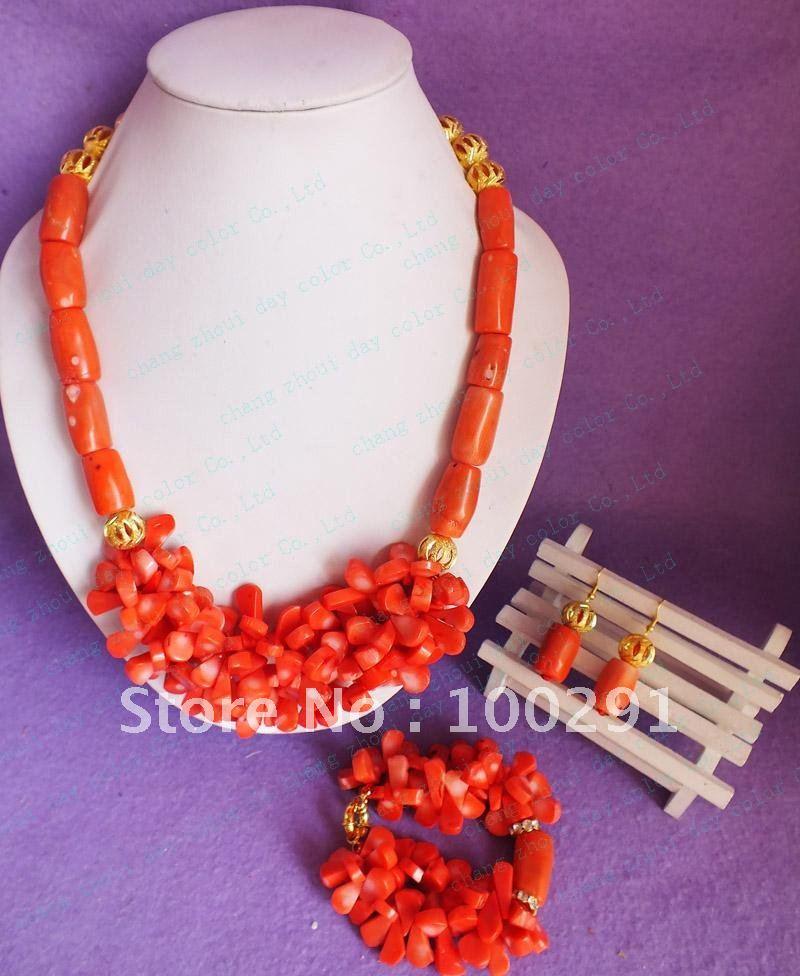 Free ship!!! Fashion coral orange necklace * earring necklace set tub coral beads leaf coral beads(China (Mainland))