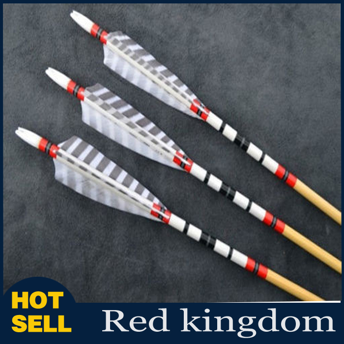3pcs 80cm Traditional Wooden Arrows Hunting Arrow Shooting Target Arrows Real Feathers 20 70lbs Archery Arrows