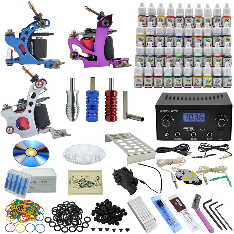 OPHIR Professional Complete Tattoo Kit 3 Casting Tattoo Machine Gun 54 Color Tattoo Ink & Needle Power Supply #TA006