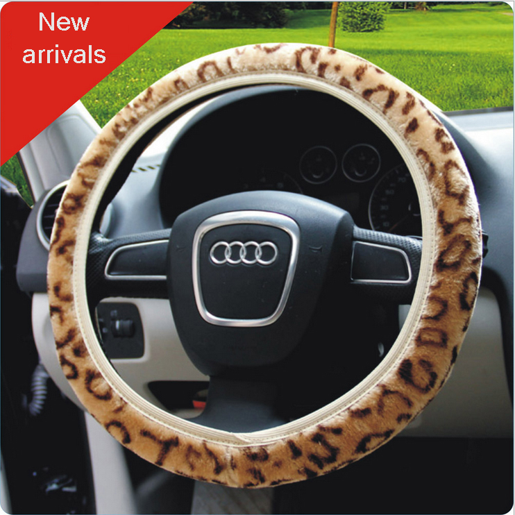 Car styling 2016 New arrivals personalized leopard print gray warm plush winter girls Car steering wheel covers free shipping(China (Mainland))
