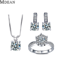 MDEAN White Gold plated Jewelry Sets Simulate Diamond Jewelry Elegant Engagement Vintage rings + earrings + necklace for women(China (Mainland))
