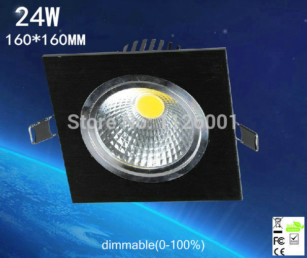 free shipping 2pc/lot Square dimmable 24W LED COB Downlight with Epistar cob LED, 2400lm, IP20, OEM Orders are Welcome, CE, RoHS<br><br>Aliexpress