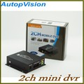 Mini CCTV 2 Channel Mobile Taxi Bus Vehicle Security DVR Motion Detect Audio I O Alarm