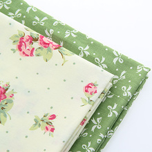 Cotton Fabric For Sewing Material For Patchwork For handmade hometextile tissue Shades of green and red flowers white bow40*50cm