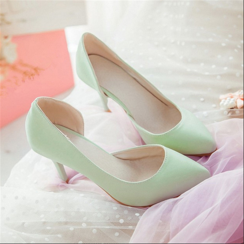 Spring autumn women shoes pointed toe high heels shallow mouth female pumps solid color thin heels plus size 40-43 ladies shoes
