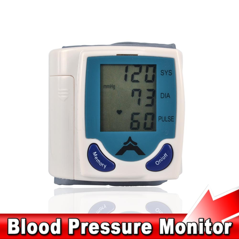 Portable Home Digital Wrist Blood Pressure Monitor Heart Beat Meter Sphygmomanometer with LCD Display(China (Mainland))